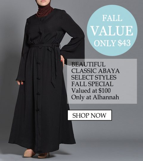 solo $ 55 bello classico Abaya seleziona gli stili speciali, valutati a $ 100 solo ad Alhannah