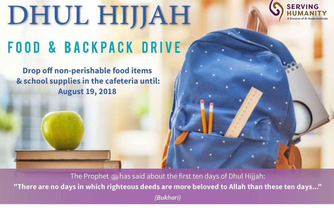 Dhul Hijjah Food and Backpack Drive