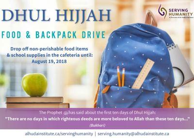 Dhul Hijjah Food & Backpack Drive