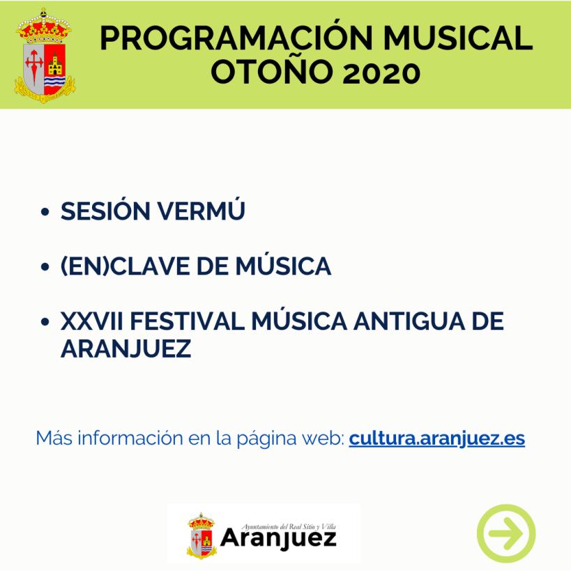 Aranjuez presenta la programación músical de este otoño con las «II Jornadas de Aranjuez (En)Clave de Música» y «Sesión Vermú»