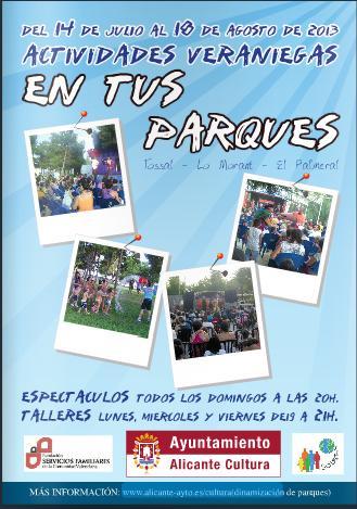 Actividades veraniegas en los parques de Alicante