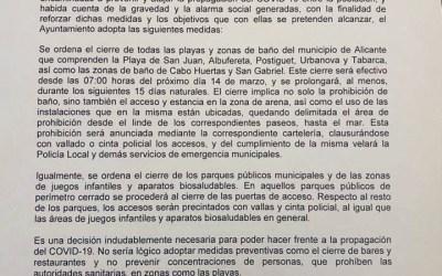 El Ayuntamiento de Alicante cierra las playas, parques, zonas de juego infantil y aparatos biosaludables durante 15 días desde el 14 de marzo