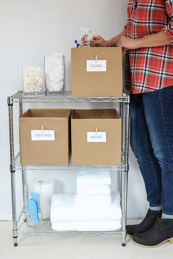 Turn your diaper boxes into cute bathroom storage