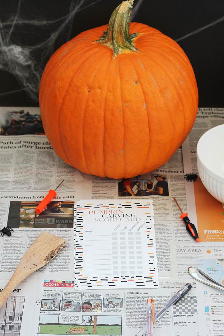 Here's a cute idea for a Halloween party –Free Printable Pumpkin Carving Scorecards