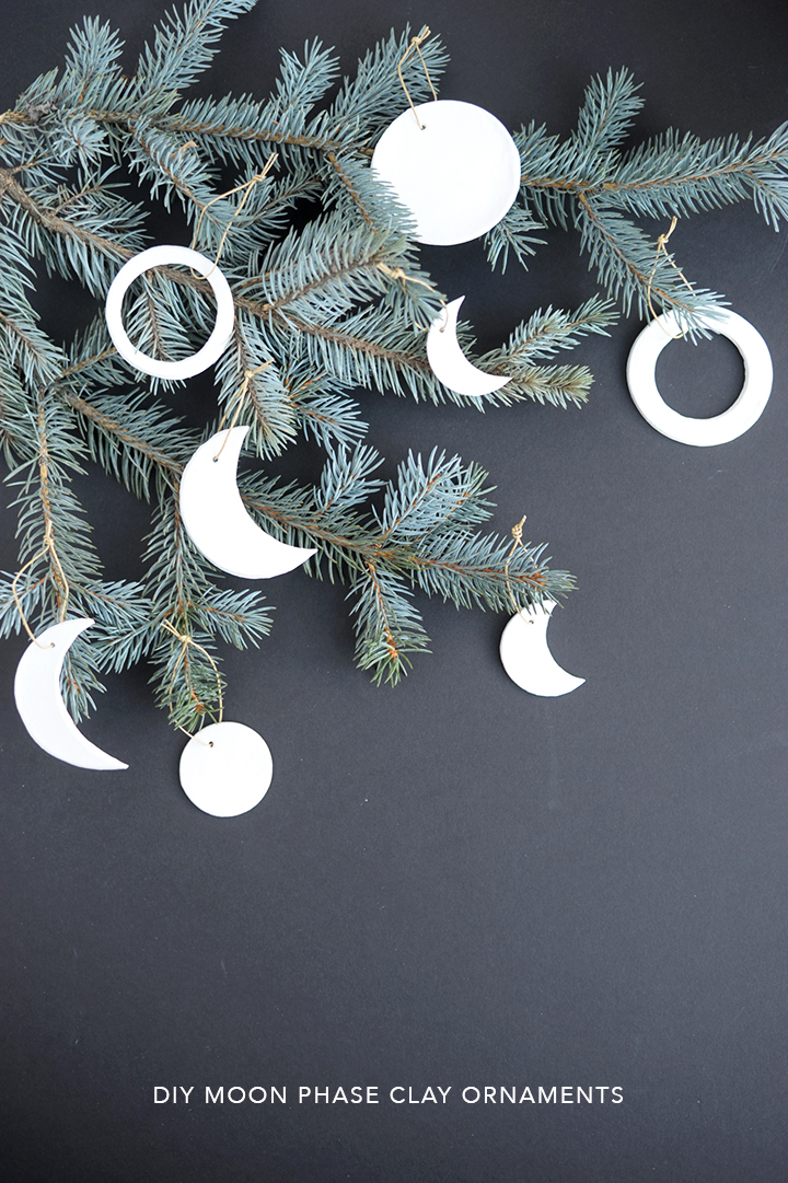 Make these simple DIY moon phase clay ornaments for Christmas.