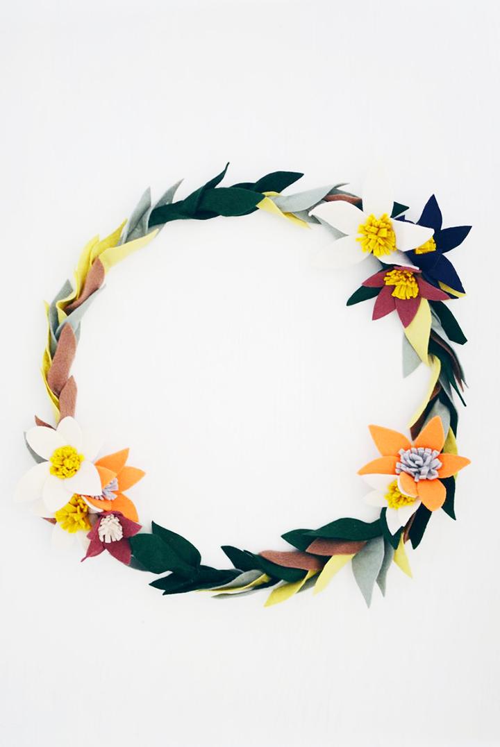 DIY felt flower wreath by A Beautiful Mess