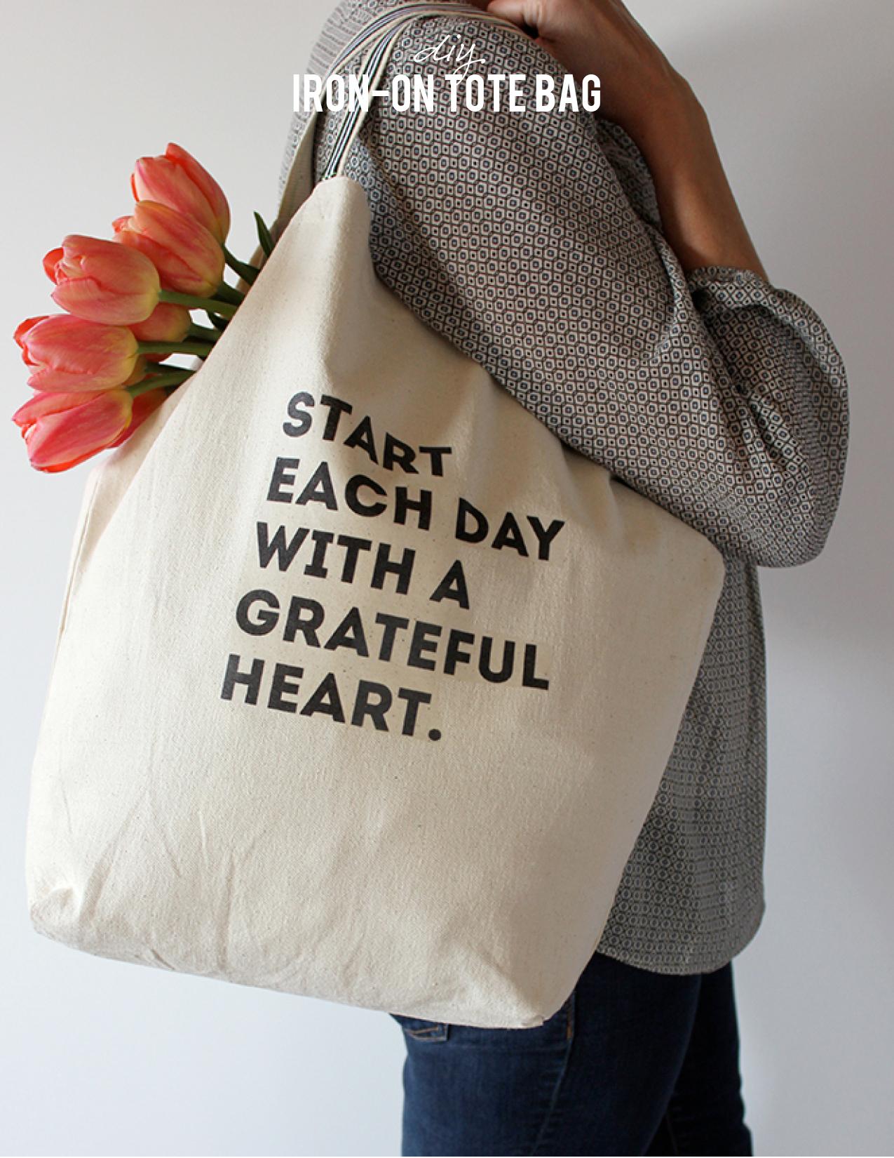 DIY Grateful Tote Bag Iron On | alice & lois