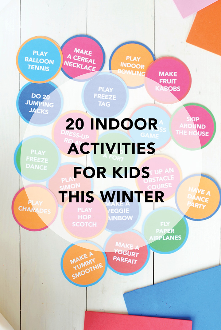 Cabin Fever? Check out this list of 20 Indoor Activities for Kids. This is a game that comes with a free printable.