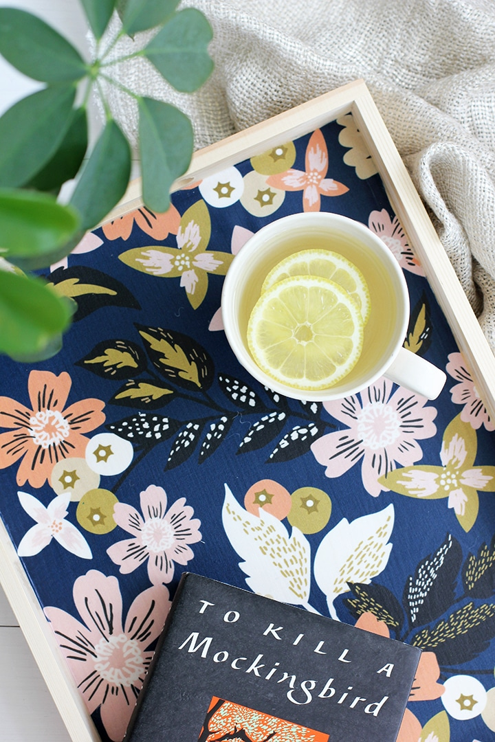 DIY Fabric Lined Wood Tray