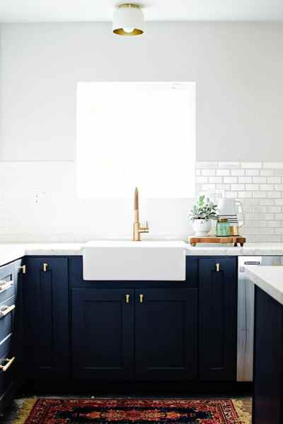 navy blue painted kitchen cabinets Alice and LoisNavy blue kitchen cabinets - Alice and Lois
