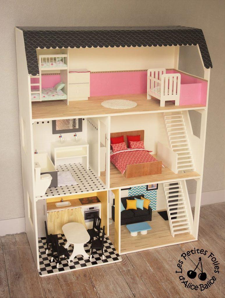 maison de poupee barbie diy doll house 1 16 eme