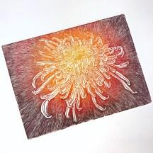 """""""chrysanthème Japonais"""", eau forte sur zinc"""