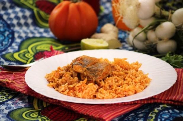 poisson et riz sauté à la tomate