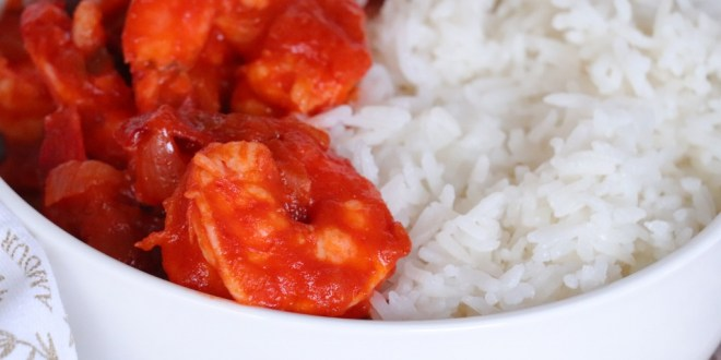 Crevettes sautées au njansan & huile de coco