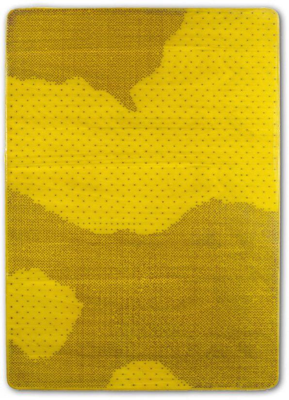 Tracce, 2016 - emulsione, ecoline e chiodi su tavola sagomata, 140x100cm