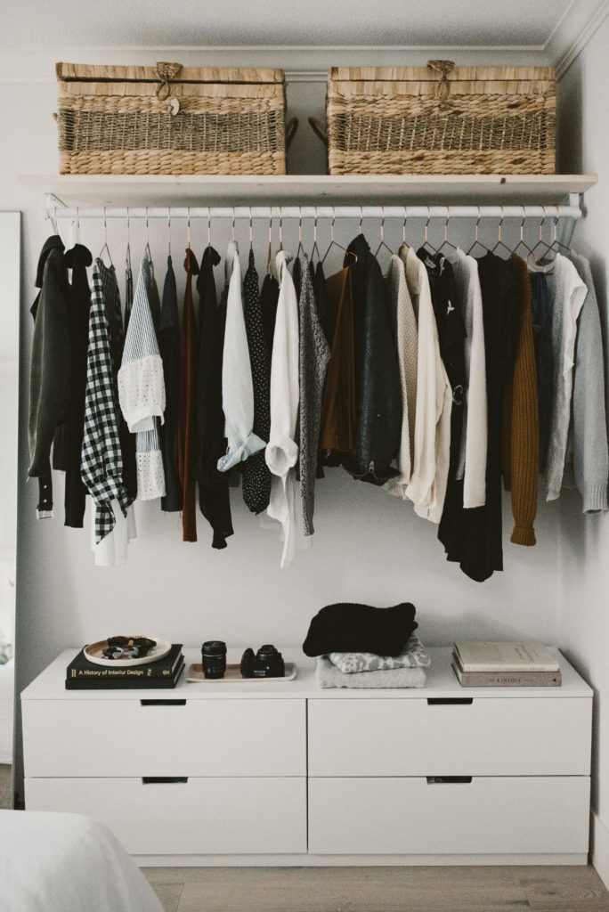 how to build an open concept closet, diy open closet, clothing storage for small space, alicia fashionista