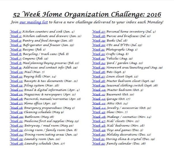 52 week home organization challenge