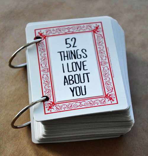 52 things I love about you playing cards