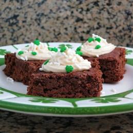 st. patrick's day brownies made with irish cream and irish cream frosting