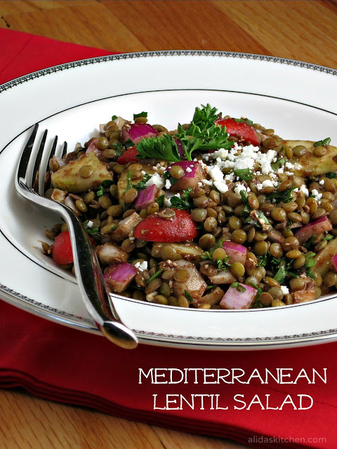 vegan mediterranean vegetable lentil salad with balsamic vinaigrette and feta cheese