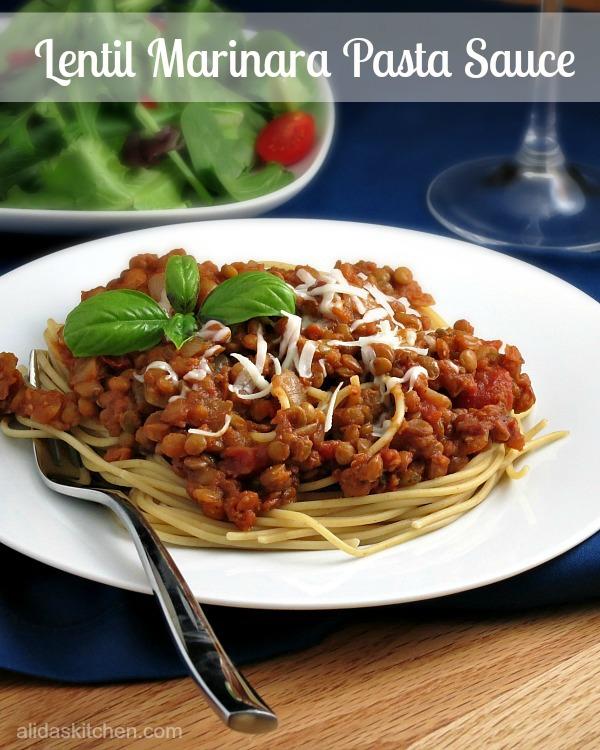 Lentil Marinara Pasta Sauce - heatlhy, vegan, delicious from Alida's Kitchen