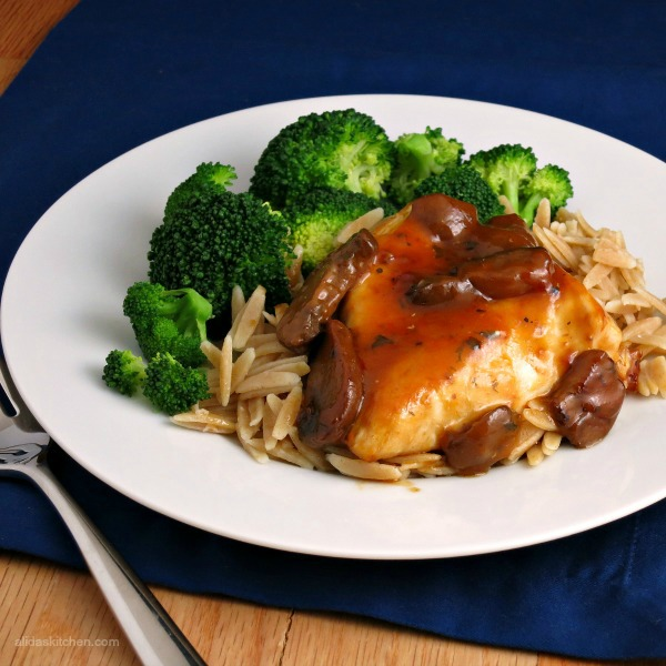 Chicken Marsala with Parmesan Orzo
