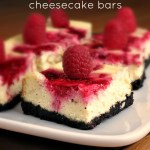 Raspberry Swirl Cheesecake Bars #SundaySupper