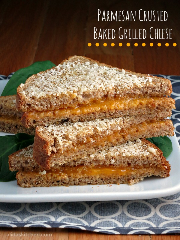 Parmesan Crusted Baked Grilled Cheese | alidaskitchen.com #recipes #grilledcheese #SundaySupper