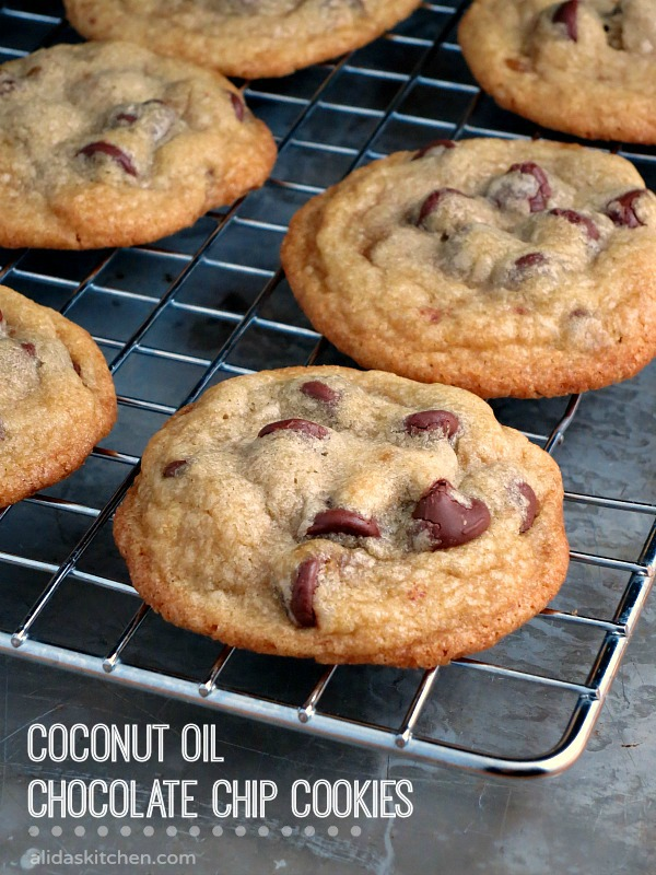 Coconut Oil Chocolate Chip Cookies | alidaskitchen.com