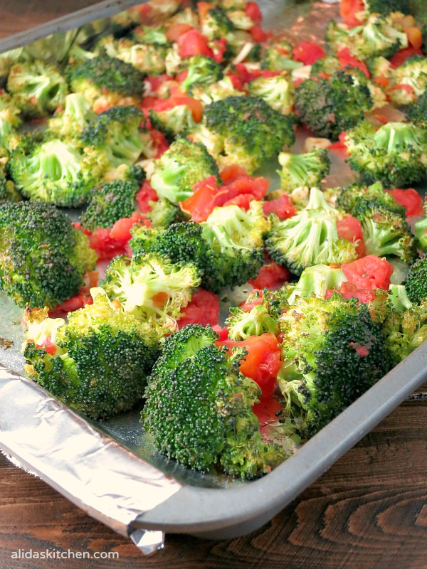 An easy recipe for Oven Roasted Broccoli with Tomatoes {vegan, gluten free}   alidaskitchen.com