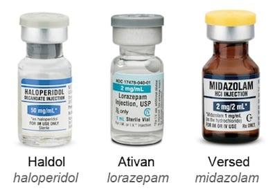 haldol ativan versed sedation agitation medications
