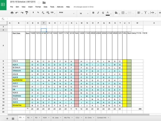 Google Docs Annual Schedule