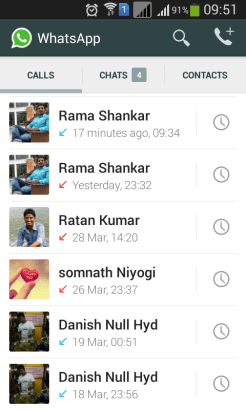 WhatsApp maintains its own call log