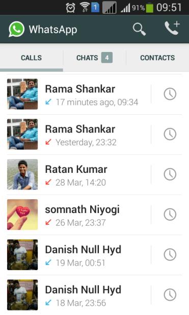 WhatsApp maintains its own call log