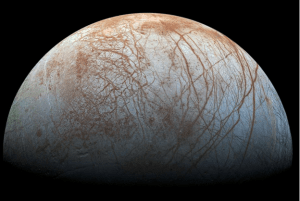 A color view of the surface of Europa