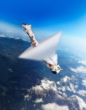 Felix Baumgartner was the first human to break the sound barrier outside of a vehicle.  The sonic boom is pictured.