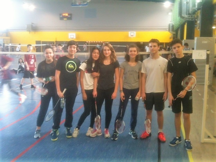 Equipe 2018 de badminton à 4 - collège Aliénor d'Aquitaine