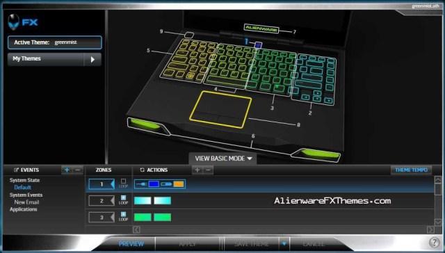 Green Mist M14x Alienware FX Theme