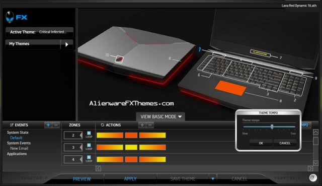 LavaRed Dynamic M18x Alienware FX Theme