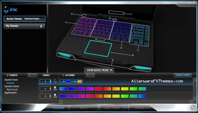 Rainbow Keyboard 3 M14x Alienware FX Theme
