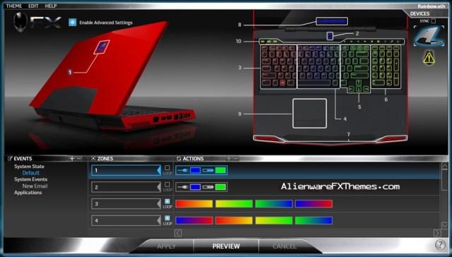 Rainbow M17x Alienware FX Theme