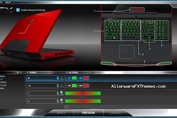 Red vs Green M17x Alienware FX Theme