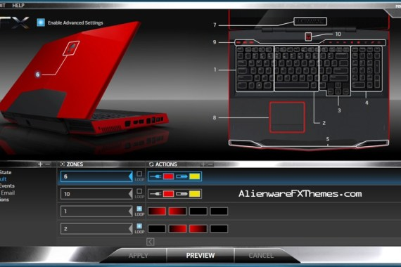Red Morph M17x Alienware FX Theme