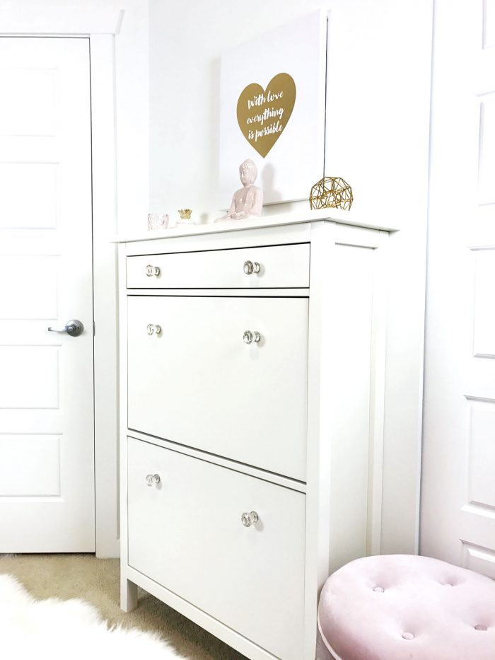 Repurposing The IKEA Hemnes Shoe Cabinet   DIY IKEA, White Pink Gold Decor,  IKEA