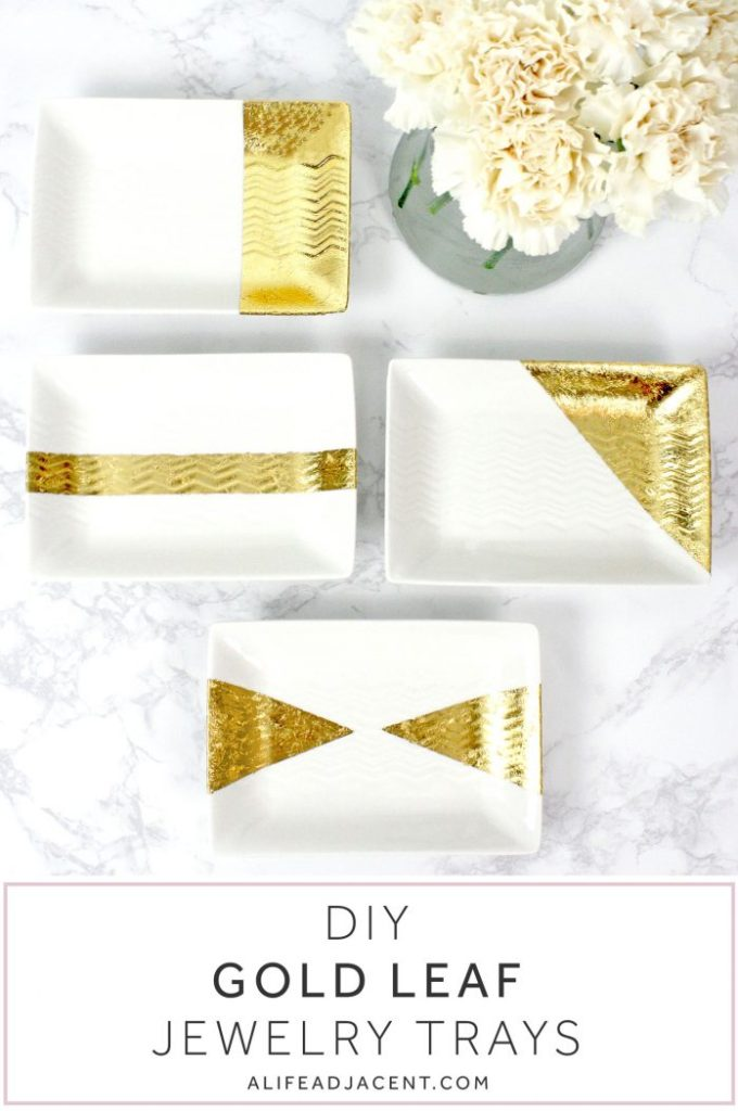 DIY Gold Leaf Jewelry Trays - Gold Leaf, Gold Foil, Gilded, Foil, Tray, Plate, DIY, DIY Gold Leaf, Jewelry Tray, Jewellery Tray, Home Decor, Pretty, Jewellery Holder, Jewelry Holder, Craft, Project, White and Gold, Decorative, Easy, Organization, Office, Desk, Gold Leafing