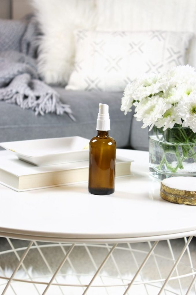 Natural DIY room spray with essential oils and vodka