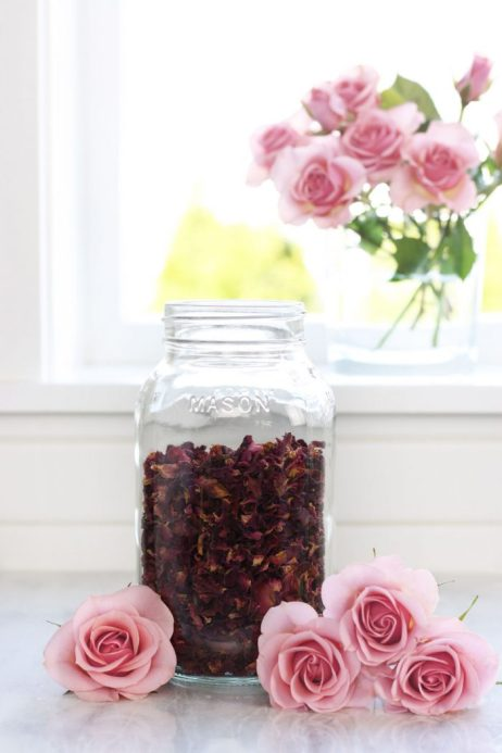 Glass jar full of dried rose petals