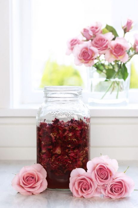 Jar of rose petal vinegar with pink roses