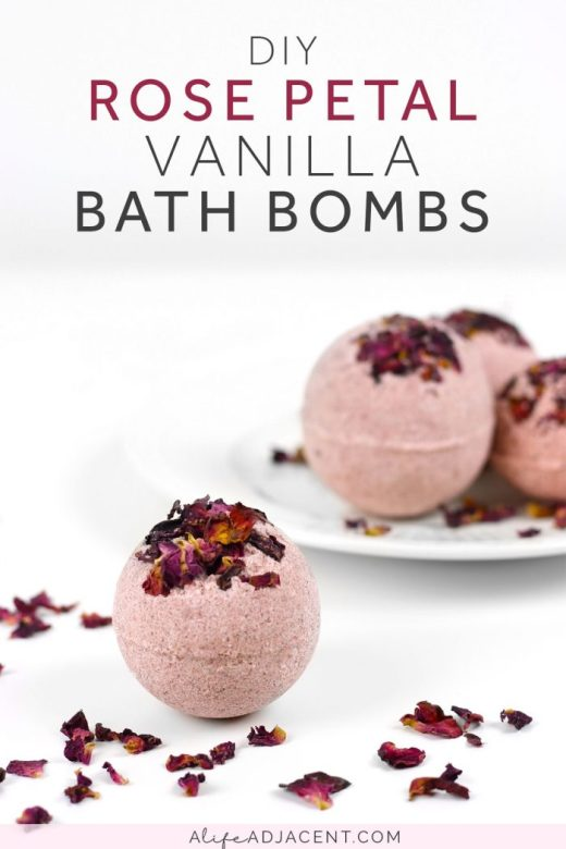 Homemade rose bath bombs with rose petals