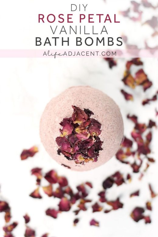 Close up of DIY rose petal bath bomb surrounded by rose petals
